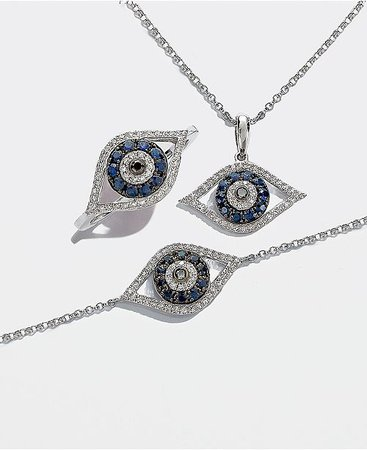 EFFY Collection EFFY® Sapphire (1/4 ct. t.w.) and Black and White Diamond (1/8 ct. t.w.) Evil Eye Pendant in 14k Gold & Reviews - Necklaces - Jewelry & Watches - Macy's