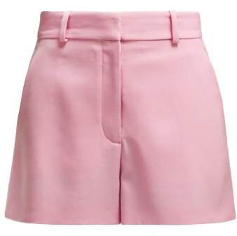 High Rise Wool Twill Shorts - Womens - Pink