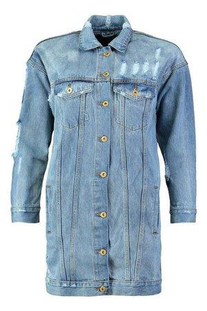 Oversized Distressed Denim Jacket | Boohoo blue