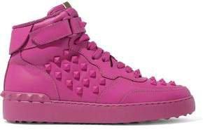 Garavani Rockstud Leather High-top Sneakers