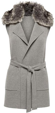 JAPAN ONLINE EXCLUSIVE Washable Merino Wool Blend Vest with Faux Fur Collar