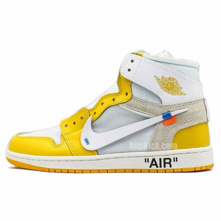 """Off-White x Air Jordan 1 """"Yellow"""" Chicago New Release For Sale"""