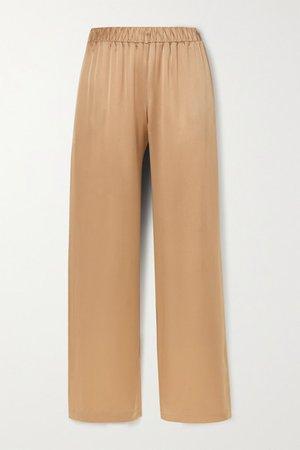 Denver Silk-satin Wide-leg Pants - Sand