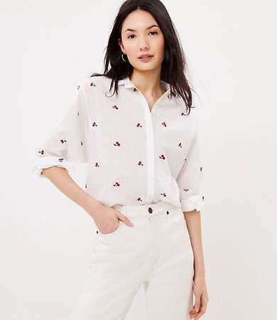 Petite Cherry Embroidered Relaxed Shirt