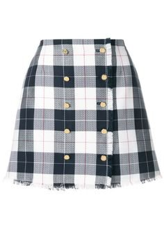 black white checked skirt