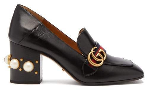 Peyton Pearl-embellished Leather Loafers - Womens - Black
