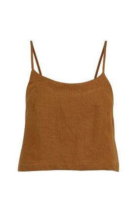 Flared Linen-Twill Camisole Top By Bondi Born | Moda Operandi