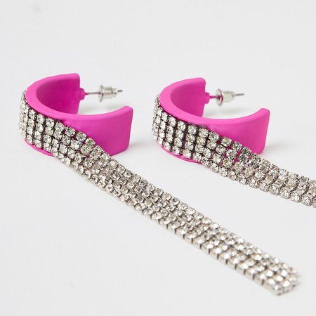 Pink diamante chain long tassel earrings | River Island