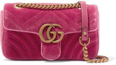 Gg Marmont Mini Quilted Velvet Shoulder Bag - Pink