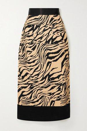 Chloe Tiger-print Crepe Midi Skirt - Black