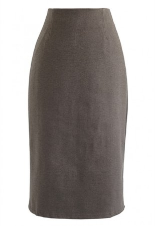 Split Hem Pencil Midi Skirt in Brown - Skirt - BOTTOMS - Retro, Indie and Unique Fashion