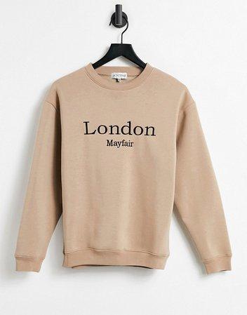 In The Style x Lorna Luxe London oversized sweatshirt top in camel   ASOS