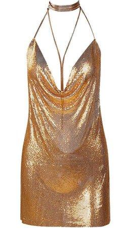'Marina' Mesh Dress - Gold at Bleu Luxury