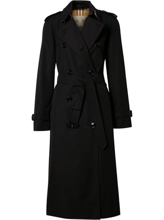 Shop black Burberry Cotton Gabardine Trench Coat with Express Delivery - Farfetch