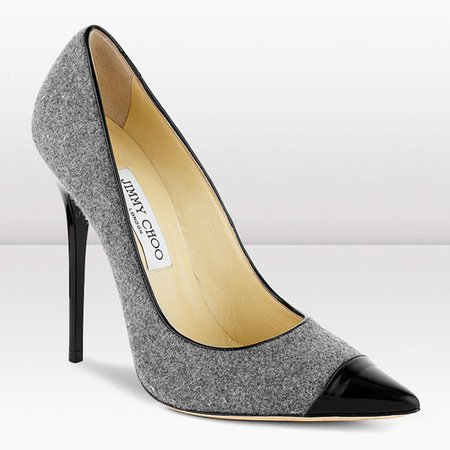 Jimmy Choo Pumps Grey Award Flannel And Patent Leather Pointy Toe For Women