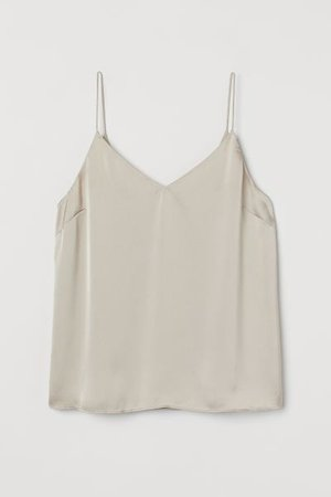 Satin Tank Top - Light beige - Ladies | H&M US