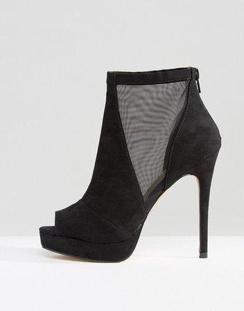 ALDO Jaina Mesh Detail Peeptoe Platform Heeled Ankle Boots | ASOS