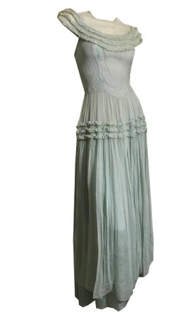 Seafoam Green Sheer Mesh Party Dress Gown with Ruffles circa 1930s – Dorothea's Closet Vintage