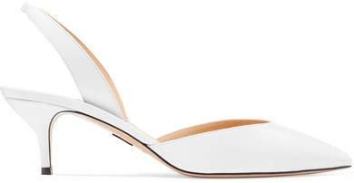 Rhea Leather Slingback Pumps - White