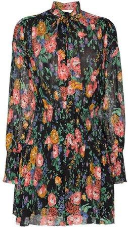 Allia shirred floral mini-dress