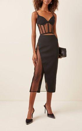Tulle-Trimmed Stretch-Crepe Pencil Skirt by David Koma | Moda Operandi