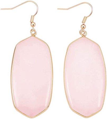 Top Plaza Womens Fashion Natural Rose Quartz Crystal Gemstone Ear Hook Water Drop Ear Pendant Dangle Earring