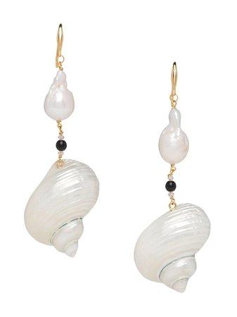 Prada Shell Drop Earrings - Farfetch