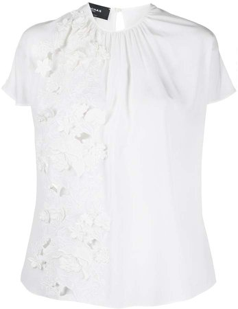 floral embroidered silk blouse