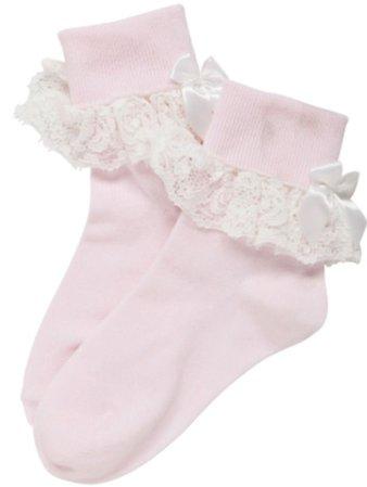 pastel pink frilly socks