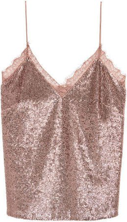 Sequined Camisole Top - Orange