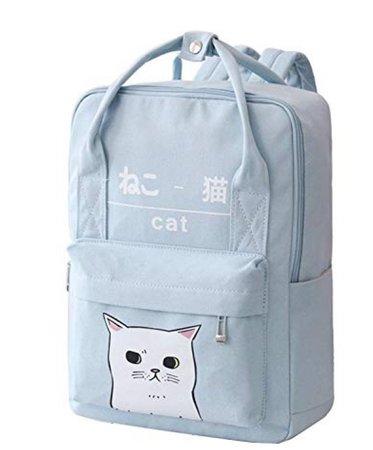 pastel blue kitty bag