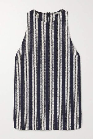 Striped Cotton-blend Tank - Navy