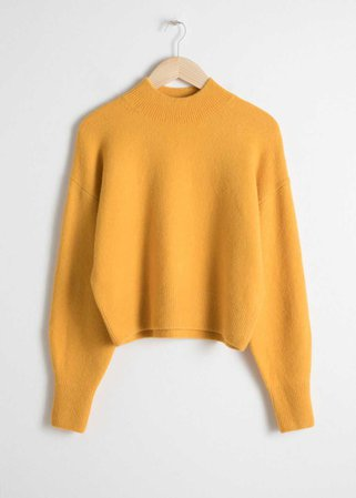 Mock Neck Cropped Sweater - Yellow - Sweaters - & Other Stories US