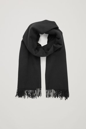 WOOL-CASHMERE SCARF - Black - Cashmere - COS