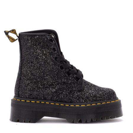 Dr. Martens Molly Amphibious Boot In Black Glitter