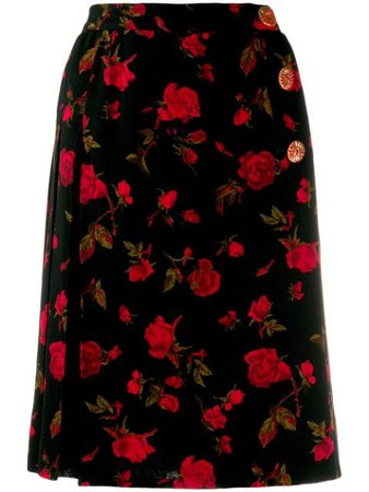 Yves Saint Laurent Pre-Owned 1980's Roses Print Wrap Skirt Vintage | Farfetch.com