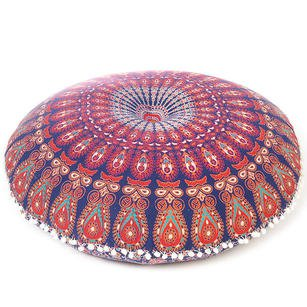 Blue Bohemian Gypsy Round Floor Meditation Pillow Decorative Seating Boho Hippie Mandala Cushion Cover - 32"