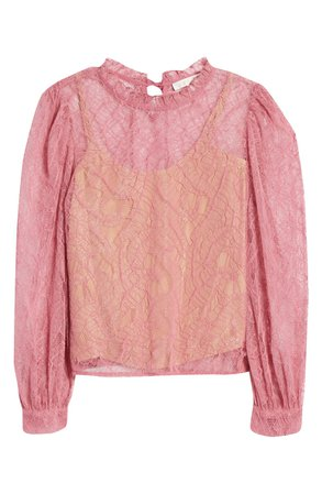 WAYF Wesley Lace Blouse pink