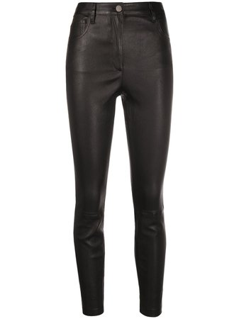 Theory slim-fit Leather Trousers - Farfetch