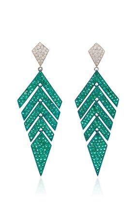 Busatti Arrow 18K White Gold Emerald And Diamond Earrings