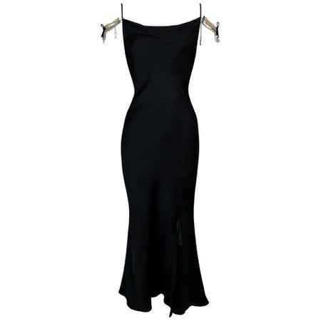 F/W 2004 Christian Dior John Galliano Pearl Chain Off Shoulder Satin Maxi Dress For Sale at 1stDibs