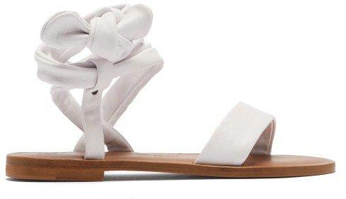 Aroa Wraparound Leather Sandals - White