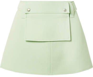Wool-twill Belted Mini Skirt - Green
