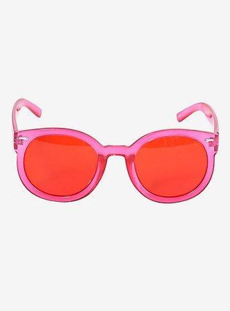 Red Lens Pink Plastic Frame Sunglasses