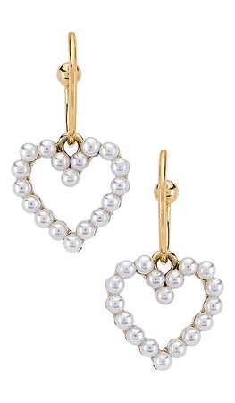 SHASHI Heart Of Pearl Hoop in Gold | REVOLVE
