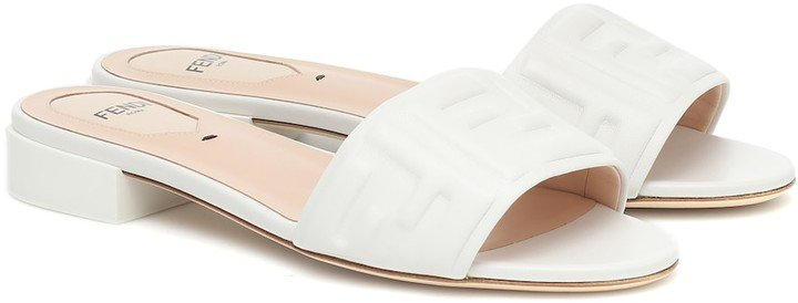 FF embossed leather sandals