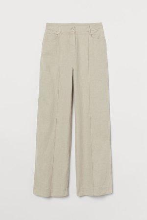 Wide-leg Linen-blend Pants - Beige
