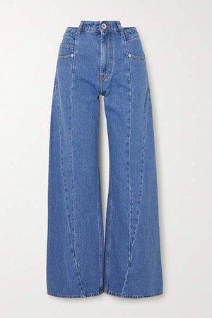Paneled High-rise Wide-leg Jeans - Blue
