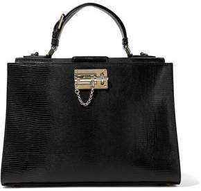 Monica Lizard-effect Leather Tote