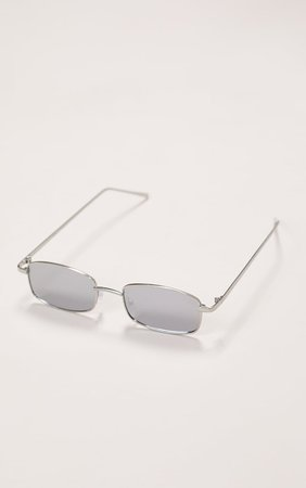 Silver Frame Revo Slim Rectangle Sunglasses   PrettyLittleThing